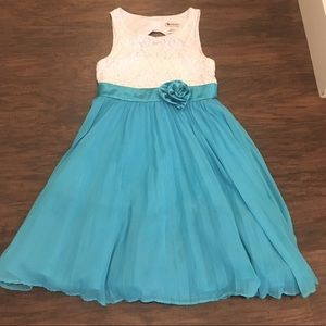 Emily West Blue and White Formal Gown Size 10